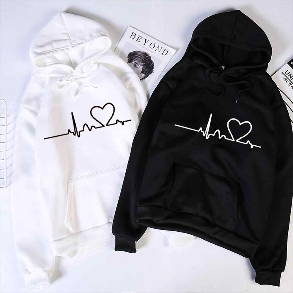 Valentine's Day Hoodies For Couples Autumn Spring Harajuku Heart Print Long Sleeve Hooded Sweatshirt Casual Pullover Tops Women