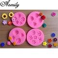 Силиконовые формы для выпечки Aomily, 4 вида цветов, формы для украшения тортов из помадки, форма для шоколадных конфет, форма для полимерной гл...