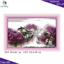 Joy Sunday Purple Dream F318 Cross Stitch 14CT 11CT Counted and Stamped Home Decoration kits