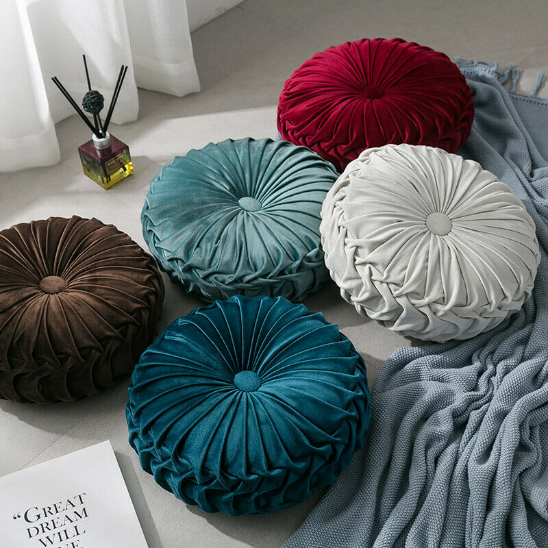 Newest-Home-Textile-Velvet-Pleated-Round-Solid-Color-Cushion-Pouf-Throw-Home-Soft-Cushion 2