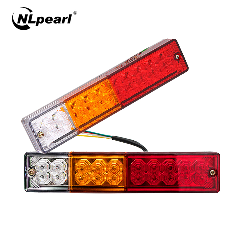 Nlpearl 2Pcs Car Light Assembly 12V 24V Tail Lights For Trailers Caravana Trucks Rear Brake Turn Signal Indicator Lamp Light
