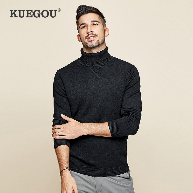 KUEGOU Brand Men Turtleneck Knitting Sweater Winter Warm Render Unlined Upper Garment Sweater  Cultivate One's Morality XZ-89002