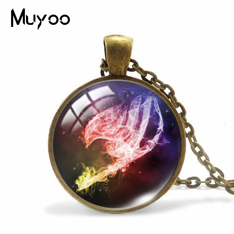 New Fashion Fairy Tail Anime Glass Dome Jewelry Pendants Handmade Fairy Tale Cartoon Patterns Handmade Zinc Alloy Necklace(China)