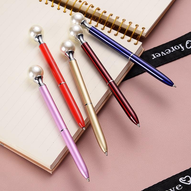 9 Colors Big Pearl Metal Ballpoint Pens 4