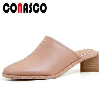 CONASCO Summer New Arrival Women Sandals Slippers Pumps Mules Thick Heels Genuine Leather Fashion Concise Casual Shoes Woman