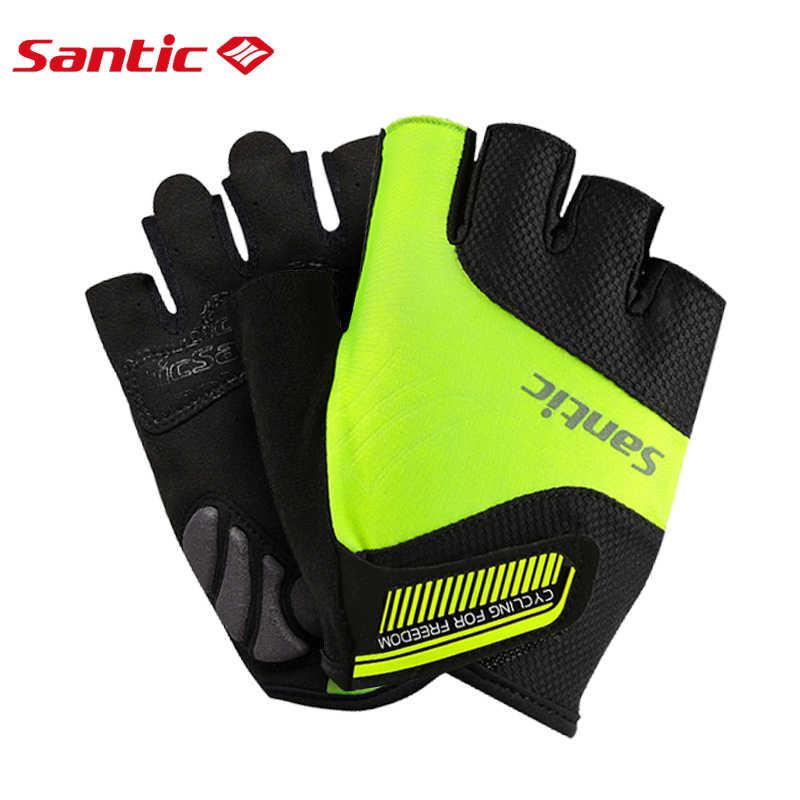 Santic גברים נשים רכיבה על אופניים קצר כפפות יוניסקס קיץ חצי אצבע מגניב מרגיש אנטי pilling אנטי סטטי שמש- מגן WM7C09065