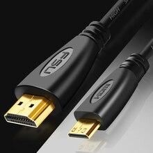 Mini HDMI a Cable HDMI 1080p 3D adaptador de alta velocidad enchufe chapado en oro para cámara monitor proyector notebook TV 1M, 1,5 m,2M,3M,5M