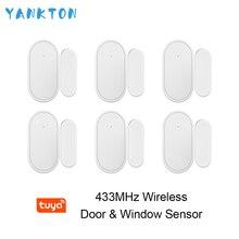цена на YANKTON 433mhz Wirless Door&Window Sensor Mini Alarm Sensor for Home Security Alarm System APP Remote Control Arming&Disarming