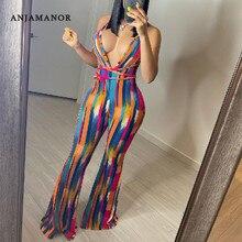 Anjamļhalter sem costas listrado macacão das mulheres roupas de verão 2021 africano flare calças ternos sexy clube outfits D89-CC36