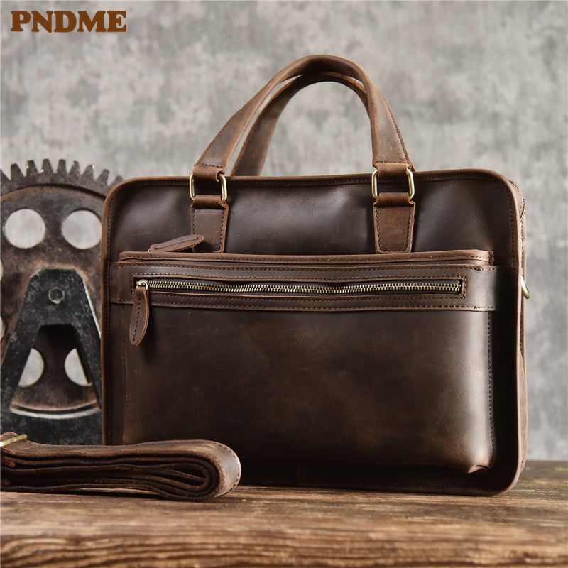 PNDME Simple Vintage Crazy Horse Cowhide Men Briefcase Handbag First Layer Genuine Leather Business Casual Laptop Messenger Bag