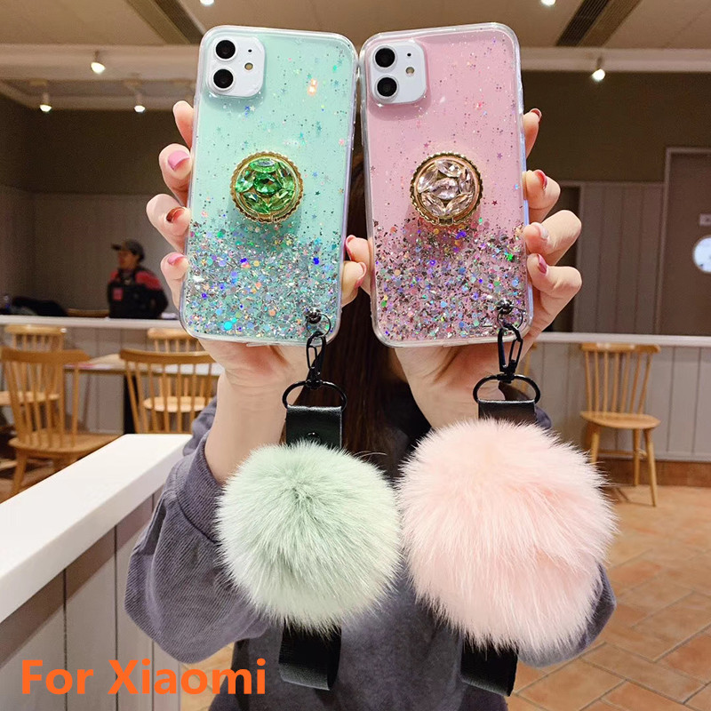 DIY <font><b>3D</b></font> Diamond Holder stand Glitter Hair ball soft phone case For <font><b>Xiaomi</b></font> Mi Note10 CC9E 9T CC9 For <font><b>Redmi</b></font> 7A Note5 6 7 8 <font><b>Pro</b></font> K20 image