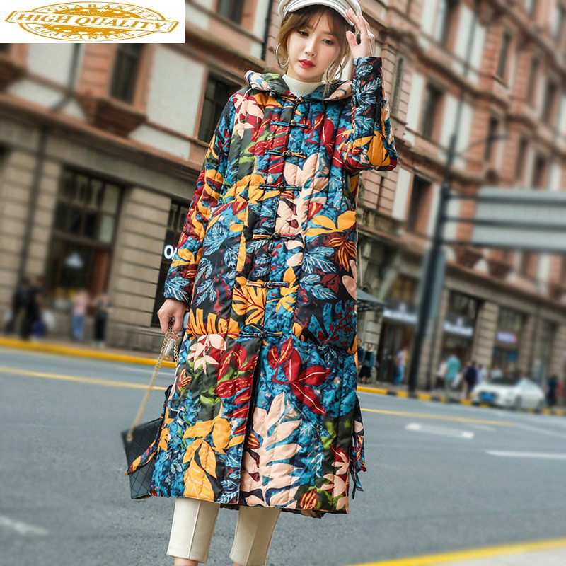 2020 Women's Down Jacket Hooded Winter White Duck Down Coat Korean Fashion Vintage Puffer Jacket ZMY-P-HSKSPK YY1969