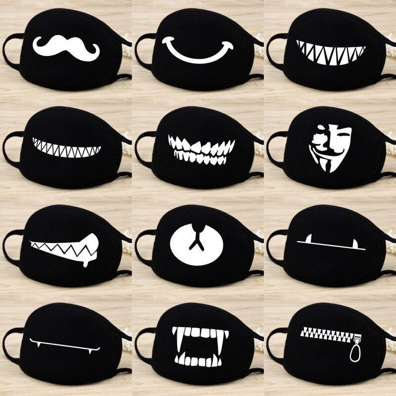 Корейская поп Аниме Черная маска для рта мягкая хлопковая Тканевая маска с мультяшным рисунком маска для лица Пылезащитная многоразовая мо...