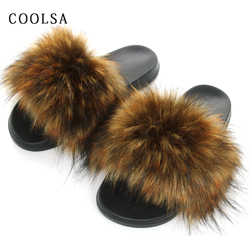 New Winter Faux Fur Slippers Women Fur Slides Fluffy Fox Fur Sandals Flat Female Home Slippers Woman Furry Flip Flop Plush Shoes