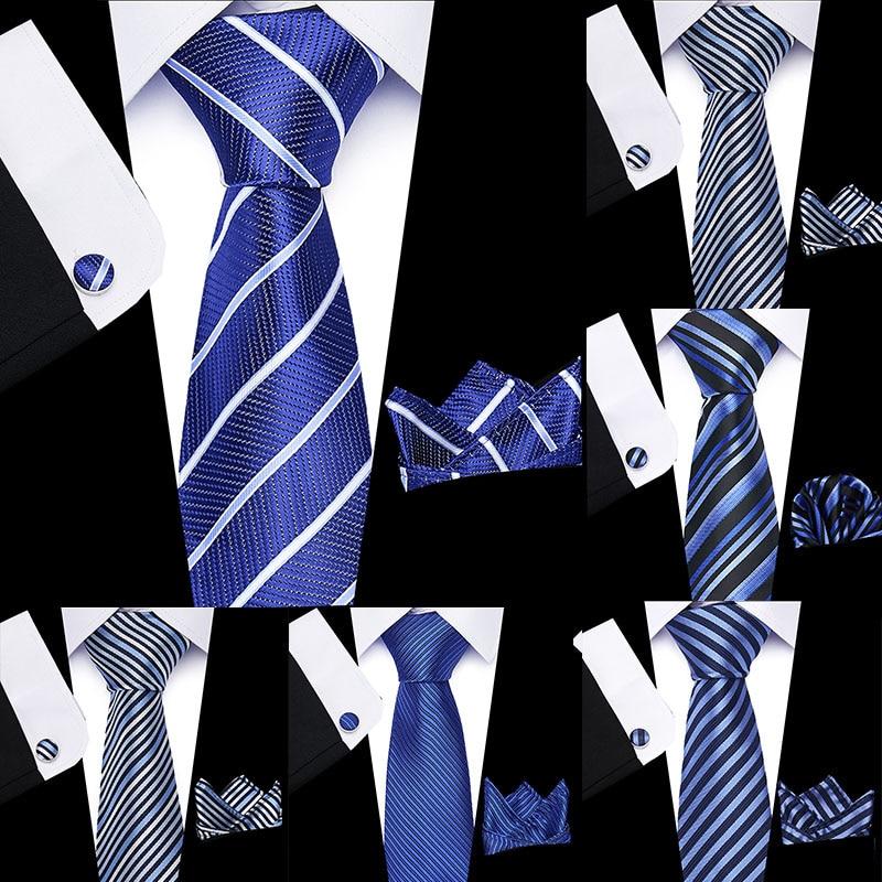 Mens Tie Blue Stripe 100% Silk  Jacquard Woven Floral Necktie Hanky Cufflink Set For Men Formal Wedding Party
