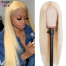 Perruque Lace Wig sans colle brésilienne Remy, cheveux naturels lisses, blond 613, 13x4, 613, 30 pouces, partie centrale, pre-plucked, 150%