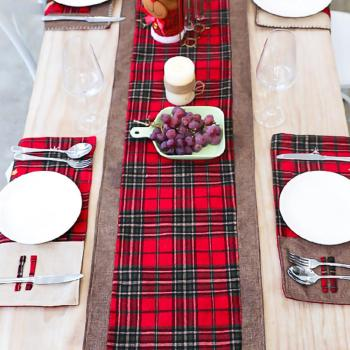 New Christmas Style Table Runner Red Burlap Black Plaid Reversible For Party Home Decoration