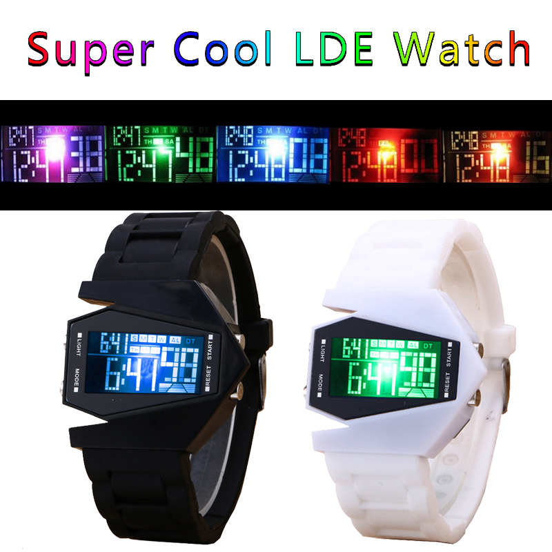 Fashion Creative Cool Trend Colorful Luminous Men and Women Silicone Multifunctional Electronic Watch Couple Watch Holiday Gift