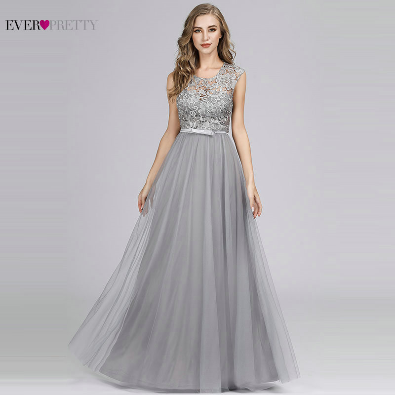 Long Dress For Wedding Party Elegant A Line O Neck Lace Bridesmaid Dress Burgundy Grey Formal Gown Vestidos Dama De Honor Largos
