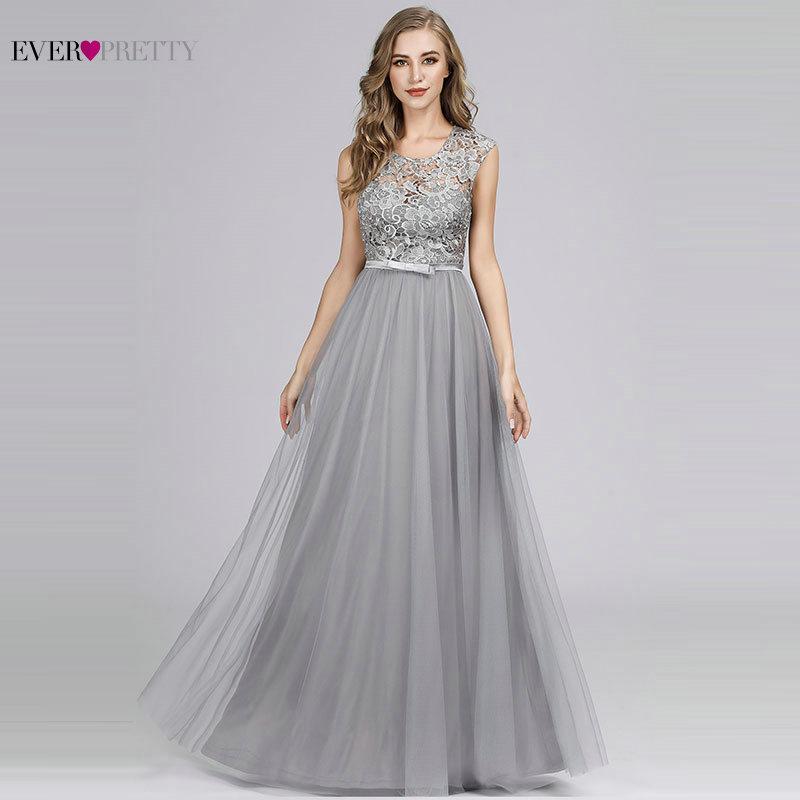 Long Dress For Wedding Party Elegant A Line O Neck Lace Bridesmaid Dress Burgundy Grey Formal Gown Vestidos Dama De Honor Largos
