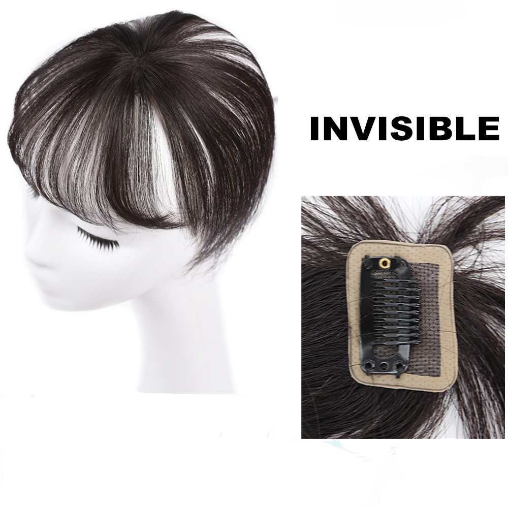 360 Invisible Human Hair Bangs Seamless Transparent Lace Bangs Clip In Air Bang Brazilian Human Fringe Hair Non-remy Light Brown