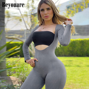 Beyouare women sexy round neck jumpsuit with tube summer solid full sleeve slim skinny stretch bodycon casual streetwear romper 2018 summer female sexy bodycon jumpsuit solid high waist romper casual bandage romper streetwear