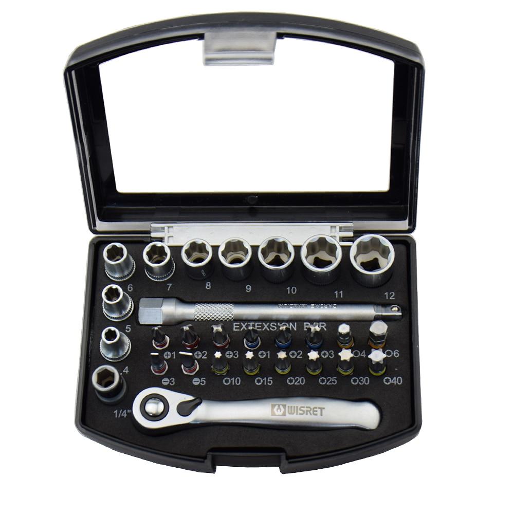 28PCS Industrial Mini juego de llaves de trinquete de 1/4 juego de - Juegos de herramientas - foto 4
