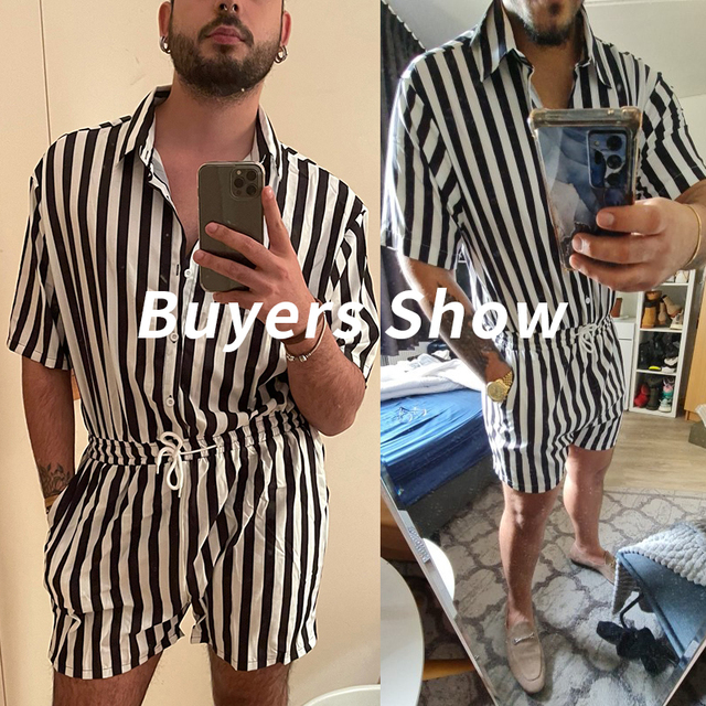 Fashion Men Striped Rompers Short Sleeve Button Shorts Lapel Jumpsuit Drawstring Streetwear 2021 Casual Playsuit Hombre INCERUN 5