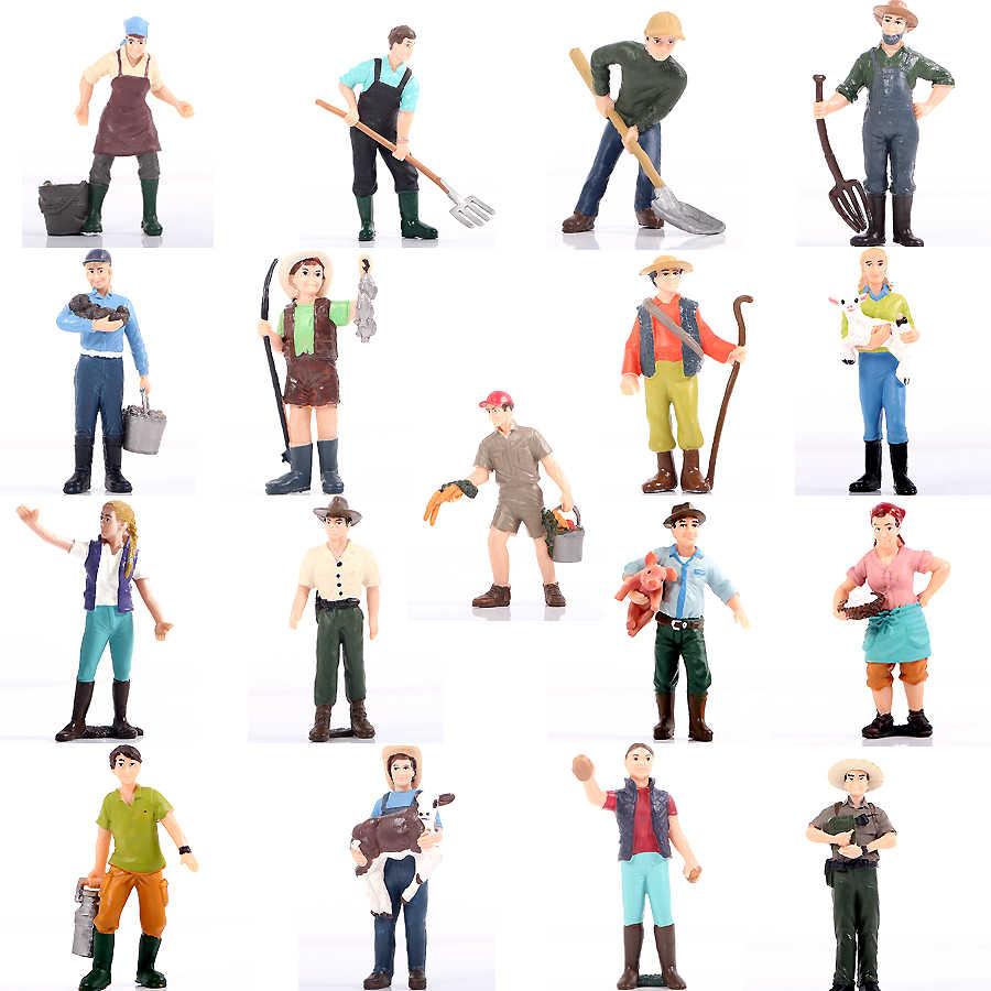 חוות צוות עובד חקלאי אנשים דגם צלמיות צעצועי סט חוות נושא עוגת טופר קישוט מסיבת בית תפאורה צעצועים לילדים