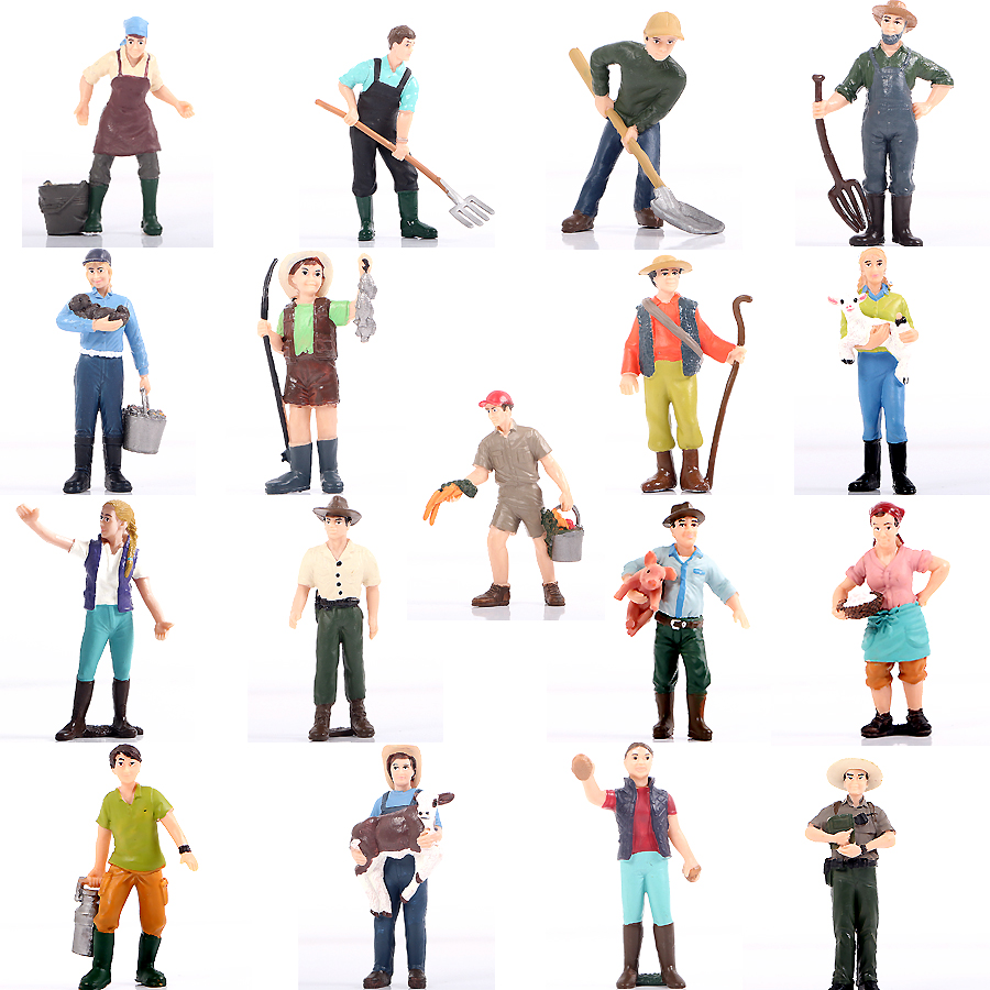 Farm Staff Worker Farmer People Model Figurines Toys Set Farm Theme Cake Topper Decoration Party Home Decor Toys For Kids