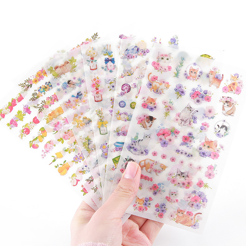 6 Sheets DIY Kawaii PVC Flower Stickers Cartoon Cat Stationery Stickers Scrapbooking For Decoration Photo Album Diary