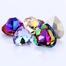 Цветное стекло в форме сердца стразы k9 кристалл камень для