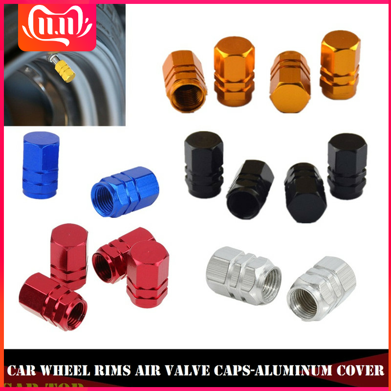 4Pcs Tire Valve Caps Car Truck Bike Aluminum Wheel Rims Stem Air Valve Caps Tyre Cover Tire Caps Wheel Plugs