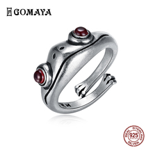 GOMAYA 925 sterling silver frog retro personality creative ring jewelry sterling silver jewelry animal ring female sterling silver inlaid green chalcedony ring silver retro female food