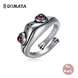 GOMAYA Jewelry Frog Animal-Ring Jewelry-Sterling-Silver Female Retro Personality