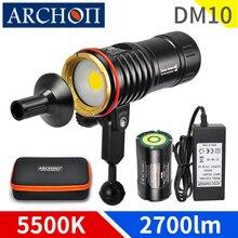 DM10 5500K 2700 Lumen Lặn Photoraphy Đèn HD Video Lặn Lấp Đầy Đèn Dưới Nước 100 M Bổ Nhào Đèn Pin Đèn chiếu Sáng Đèn Pin
