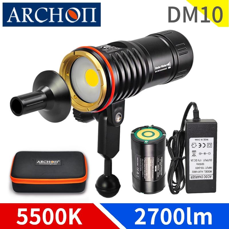 DM10 5500K 2700lumen diving photoraphy light HD video diving fill lamp Underwater 100m dive flashlight spot light lighting torchLED Flashlights   -