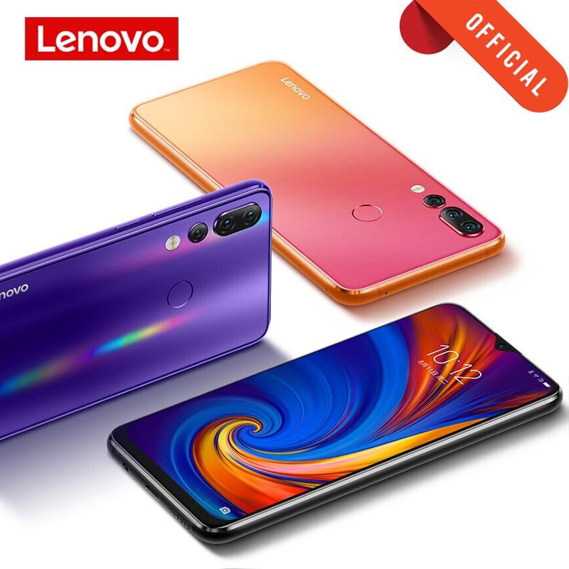 Câmera traseira tripla do telefone celular snapdragon 128 android p rom global lenovo z5s 6 gb 64 gb 6.3 gb com presente 710 polegadas smartphone z5 s