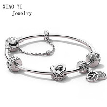 XIAOYI 100% 925 Sterling Silver ZT0300 Heart Interweaving Christmas Strings Charm Bracelet Gift Set Vintage Jewelry(China)