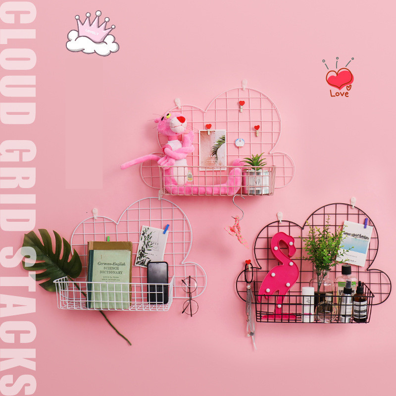 Creative Metal Storage Rack Iron Mesh DIY Grid Wall Hanging Photos Pictures Postcard Holder Multifunctional Decoration Shelves