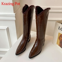 Heel Krazing-Pot Snow-Boots Pointed-Toe Korean Winter Lady Knee-High L80 Cozy Street-Beauty