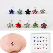 20PCS/Box Women Body Piercing Jewelry Nose Flower Shape Mix Color White Crystal Ring Studs Drop Shipping