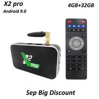 X2 Pro Tv Box Android 9.0 Amlogic S905X2 4GB DDR4 32GB 2.4G/5G WIFI Bluetooth 4.0 LAN 1000M Smart Set Top Box 4K HD Media Player