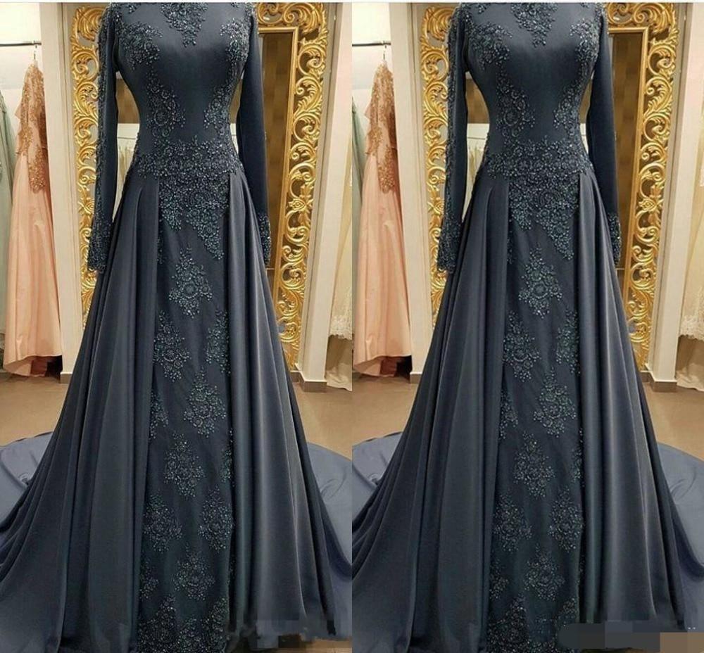 Купить с кэшбэком Modest Gray Muslim Evening Dresses robe de soiree Long sleeves High Neck Prom Dress Applique Lace Mermaid Evening dress 2019