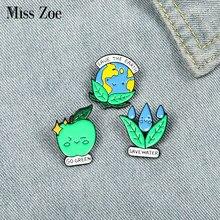Alfileres de esmalte de Save the Earth, insignia regalo de la joyería verde para niños y amigos