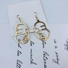 Ailodo Abstract Hollow Out Face Dangle Earrings Unique Design Double Layers Statement Long Drop Jewelry LD305