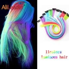 Leeons 11 renkler parlayan sentetik tek klip insan saçı postiş parlayan saç karanlıkta uzun düz gökkuşağı postiş