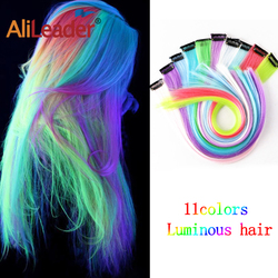 Leeons 11Colors Glowing Synthetic One Clip In Human Hair Extensions Shining Hair In The Darkness Long Straight Rainbow Hairpiece