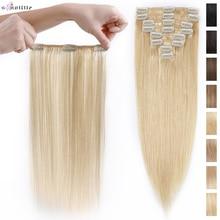 S-noilite 70g-110g Clip In Hair Extensions Human Hair 8pcs/Set Natural Hair Black Blonde Non-Remy 10Inch 16Inch 22Inch Hair Clip