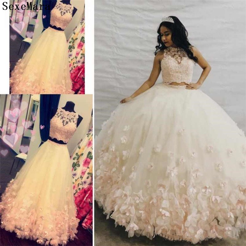 Charming 3D Floral Two Pieces Vestidos De   Flower     Girls     Dresses   Lace Applique Hollow Back Ball Gown Prom Party   Dress   for   Girls